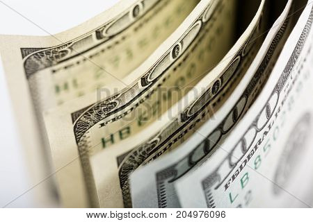 Macro Shot Of A 100 Dollar. Dollars Closeup Concept. American Dollars Cash Money. One Hundred Dollar