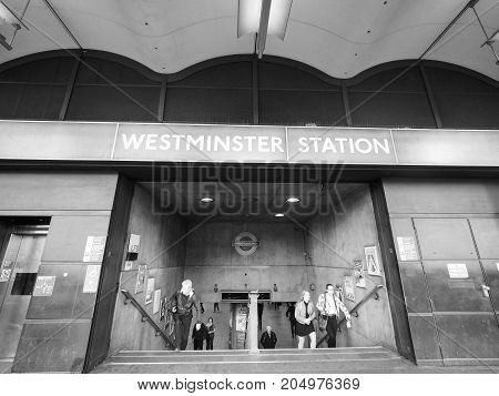 Westminster Tube Station In London Black And White