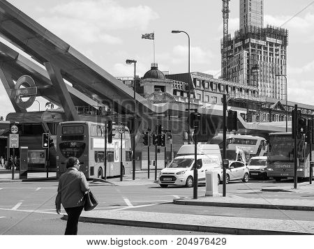Victoria Bus Station In London Black And White