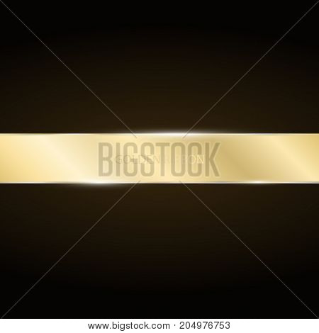 Golden ribbon on a dark background. Golden luxury strip for presentations. Vector illustration