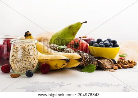 Food rich of fiber. Healthy food background. Diet or healthy lifestyle concept. Selective focus