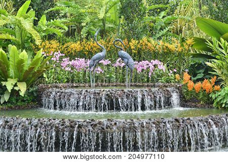 Orchid garden fountain in Singapore in Asia