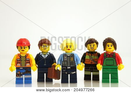 Colorado, USA - September 19, 2017: LEGO businesswomen representing a variety of jobs, studio shot isolated on white background.