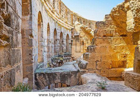 In El Jem Amphitheater, El Djem Town