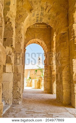The Walk In Portico Of El Jem Amphitheater In El Djem