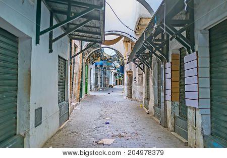 The Empty Street Of Tunis Market