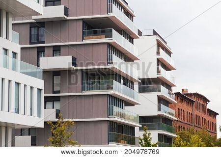 Contemporary design living houses. Modern luxury apartments buildings