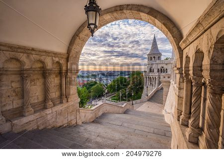 Budapest Hungary - North gate of the famous Fisherman Bastion at early in the morning