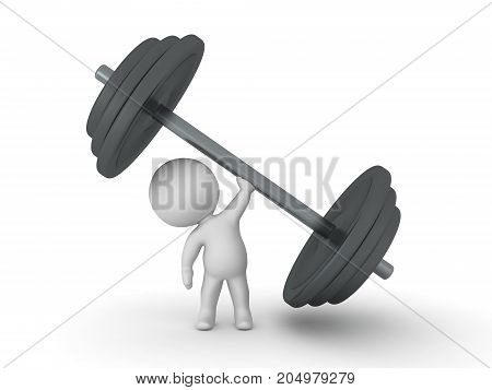 3D Character lifting giant dumbbell weight. Image relating to working out and fitness.