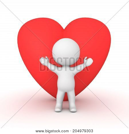 3D Character with a large red heart shape behind him. Isolated on white.