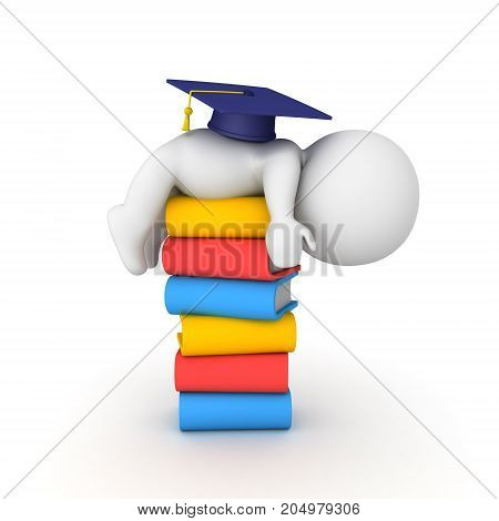 3D Character Sleeping On Top Of A Stack Of Books With Graduation Cap