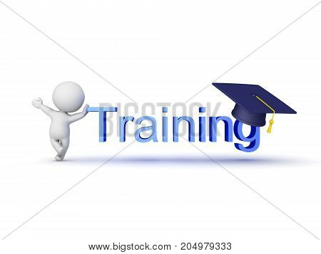 3D Character Showing Training Sign With Graduation Cap On It