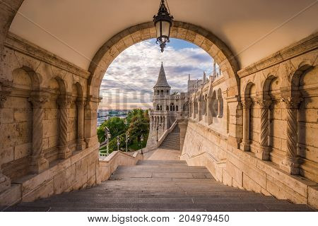 Budapest Hungary - North gate of the famous Fisherman Bastion on a summer morning
