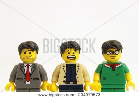 Colorado, USA - September 19, 2017: Studio shot of LEGO minifigure men with a variety of facial expressions isolated on white background.