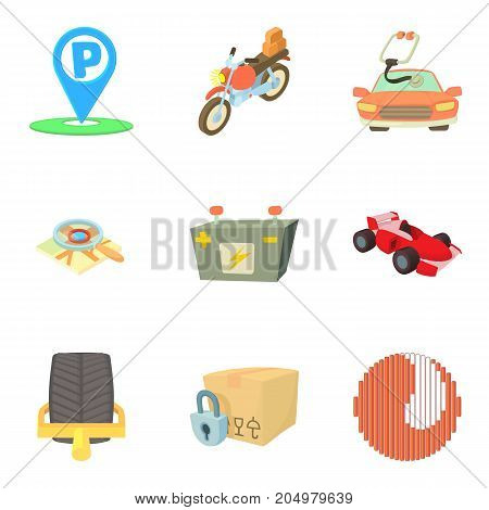 Parking area icons set. Cartoon set of 9 parking area vector icons for web isolated on white background