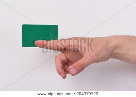 Hand Isolated On Light Grey Background. Advertising And Introducing Concept.