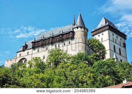 Large gothic castle Karlstejn in Czech republic. Ancient architecture. Travel destination.
