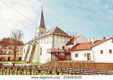 Calvinist church in Kosice Slovak republic. Religious architecture. Travel destination. Beauty photo filter.