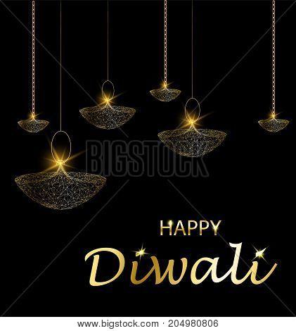Happy diwali vector illustration. Deepavali light and fire festival. Hanging lamps. Gold colors polygonal art on black background