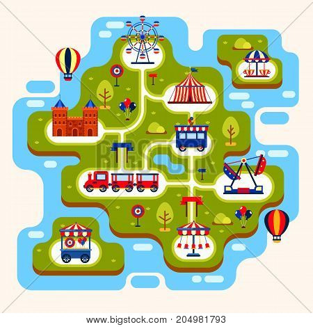 Map of amusement park with merry go round and ferris wheel, train and castle, balloons. Kid or children summer playground, circus with attractions and carousels. Entertainment theme