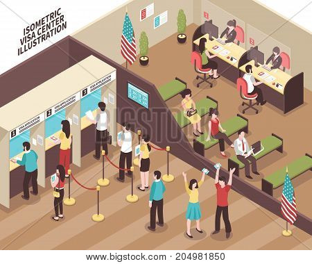 Visa center interior with people in waiting hall isometric vector illustration