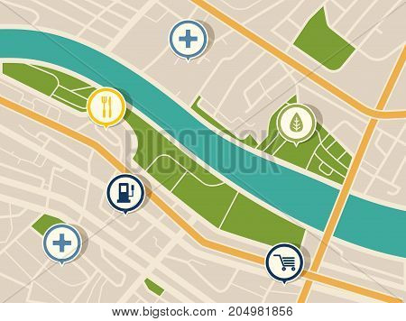 Top view on map with gps pointers for hospital and restaurant, fuel or gas station, park and mall, store or shop. Road with pins. Route or itinerary with arrows. Navigation and path, location theme