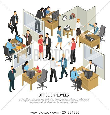 People in office interior isometric design concept with groups of creative employees participating in business process vector illustration