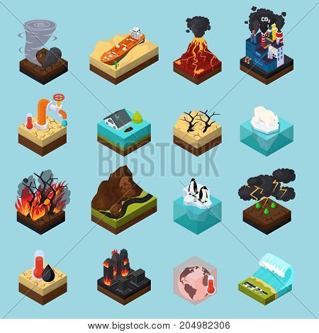 Global warming set of orthogonal isometric icons with climate changes on blue background isolated vector illustration