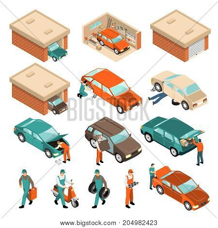 Isometric set with vehicle in brick garage, car repair, man with tyres, scooter, canister isolated vector illustration