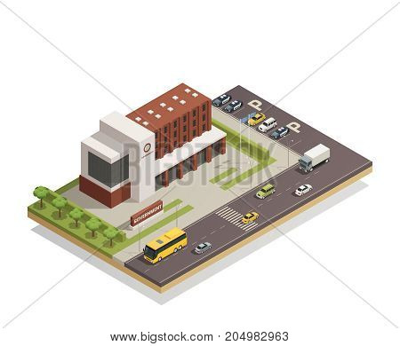 Modern government building compound in city center and surrounding area architectural composition isometric view   vector illustration