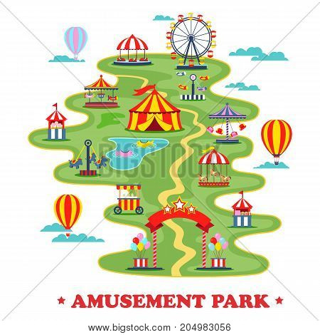 Amusement park with carousels and merry go round or map of circus with roads and tent, entrance and ferris wheel. Playground for kids and family, children on holidays. Entertainment theme