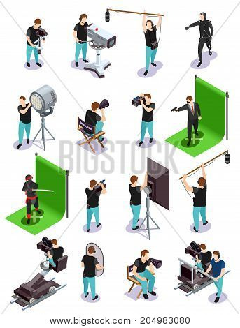 Cinematograph isometric composition with group of operators and other cinematograph people 3d isolated vector illustration