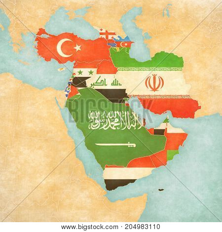 Map Of Western Asia - Flags Of All Countries