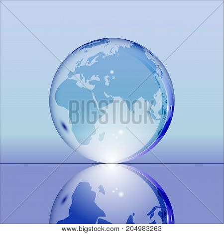Blue shining transparent earth globe with Eurasia, Africa and Australia continents laying on glass surface and reflecting in it. Bright and shining design. Vector illustration.