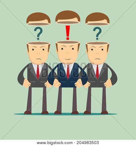 Leadership concept with crowd of business peoplewith question marks and red exclamation mark in the open heads on background. Stock flat vector illustration.