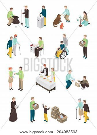 Charity volunteer people isometric set of isolated human characters of different age doing various humanitarian activities vector illustration