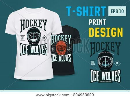 Branding of hockey ice wolves team from USA or canada on black and white t-shirts. Sport team badge on u-neck cloth. Sportswear and ads, winter or ice sport clothing and branding, advertising theme