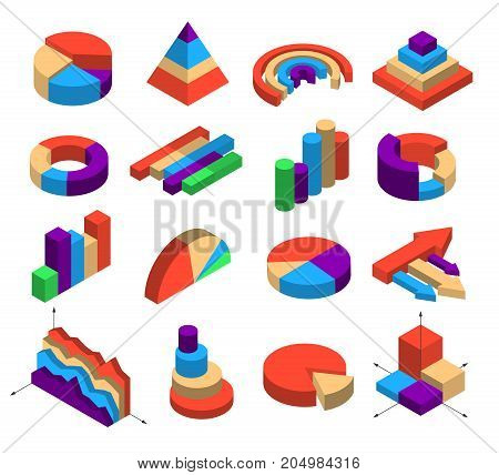 Set of sixteen isometric diagram elements for infographics layout in shape of segment bar column round pyramid arrow cube isolated vector illustration