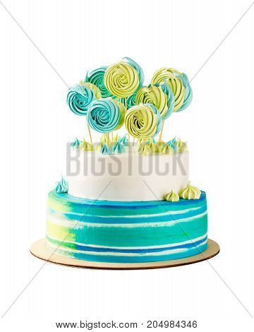 Blue And Green Tiered Birthday Cake Isolated On White