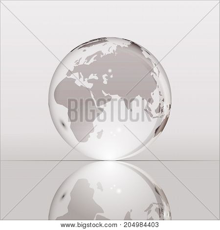 Gray shining transparent earth globe with Eurasia, Africa and Australia continents laying on glass surface and reflecting in it. Bright and shining design. Vector illustration.