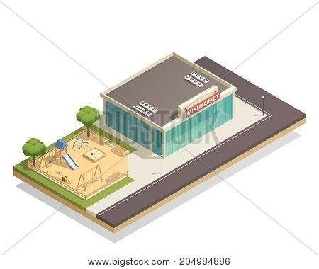 Isometric composition with kids playground, including swings, slide, climbing frame near shop with street lights vector illustration