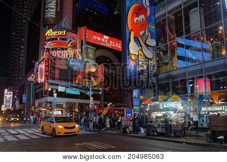 New York City, Usa, September 10, 2017 : Times Square At Night. Times Square Is A Major Commercial I