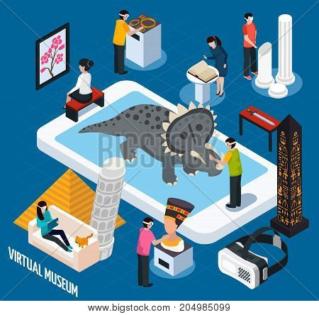 Colored and isometric virtual travel landmarks museum concept with virtual reality in smartphone vector illustration