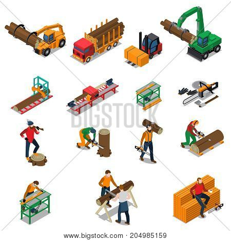 Colored and isolated sawmill timber mill lumberjack isometric icon set with sawmill worker and his tools vector illustration