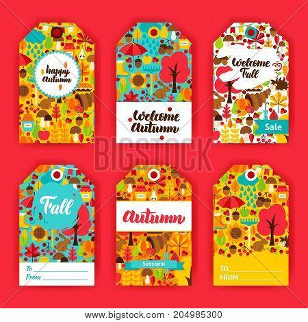 Autumn Gift Labels. Vector Illustration of Fall Seasonal Concept. Printable Badge Design.