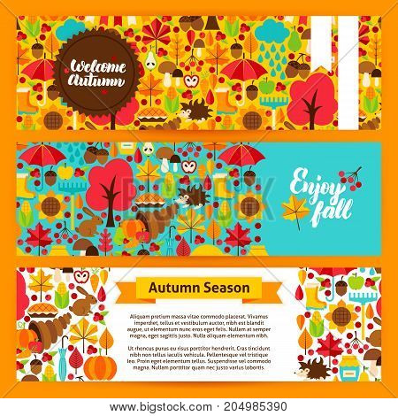 Autumn Horizontal Banners. Vector Illustration of Brand Identity. Fall Season Website Headers.