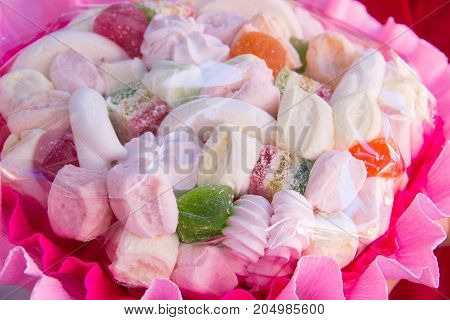 The Original Edible Bouquet Of Marmalade, Marshmallow. White And Pink Bouquet Of Food. Original Hand