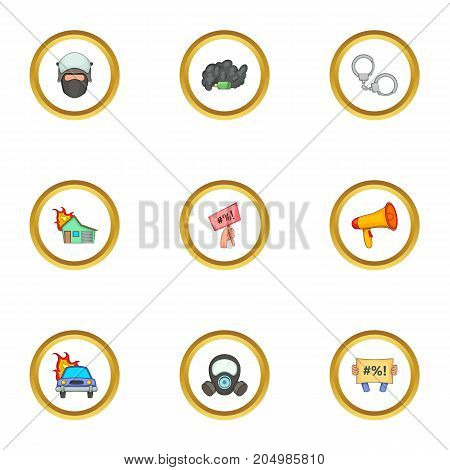 Police icons set. Cartoon style set of 9 police vector icons for web design