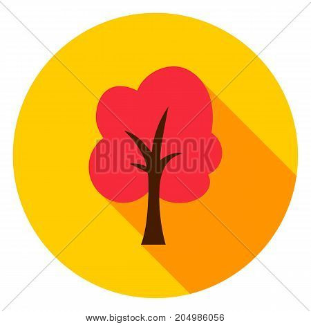 Autumn Tree Circle Icon. Vector Illustration. Fall Nature Object.