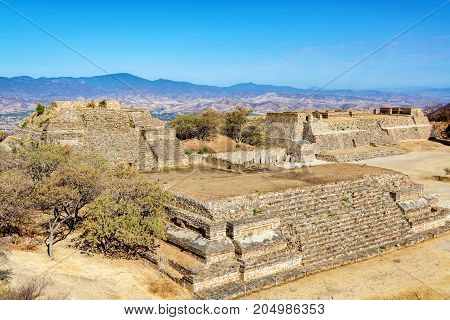 Temples in the ancient city of Monte Alban in Oaxaca Mexico